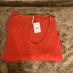 Orange free people small oversized NWT sweater